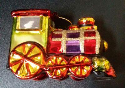 Glass multi color train ornament